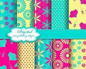 Set of vector flower abstract pattern paper — Stock Vector