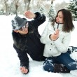 Happy Young Couple in the  Winter Park — Stock Photo