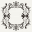 Stock Vector: Elegant Baroque Ornate Curves Engraving Frame
