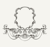Antique Luxury High Ornate Frame And Banner — Stock Vector