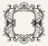 Elegant Baroque Ornate Curves Engraving Frame — Stock Vector