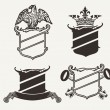 Stock Vector: Set Of Four Shield Heraldry Compositions