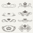 Stock Vector: VictoriScrolls and crown. Decorative Dividers. Vintage