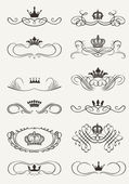 Victorian Scrolls and crown. Decorative Dividers. Vintage — Stock Vector
