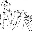 Stockvector : Revolution Hands Up