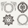 Stock Vector: Set Of Four Circle Frames And Vintage Design Elements