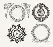 Set Of Four Circle Frames And Vintage Design Elements — Stockvector