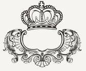 One Color Crown Crest Composition — Stock Vector