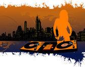 Girl DJ Silhouette — Stock Vector