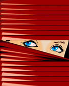 Girl Looks behind Jalousie — Stock Vector