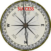 Old Compass. Course To Success. — Stock Vector