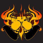Fire Drums Graffiti Banner. — Stock Vector