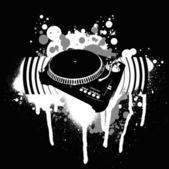 Graffiti Black and White Turntable. — Stock Vector