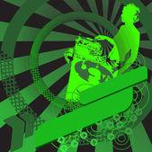 Green Girl DJ and Banner. — ストックベクタ