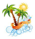 Palms. Sun. Sea. Background. — ストックベクタ