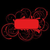 Red Curves Banner On Black Background — 图库矢量图片