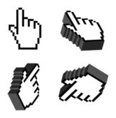 3D Vector Hand Cursors — Stock Vector