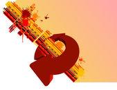 Fondo amarillo y las flechas de círculo rojo — Vector de stock