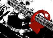 Black DJ Turntable And Red Circle Arrows — Stock Vector