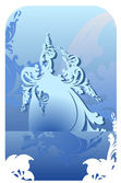 Blue Ice Curves Background. — Stock Vector