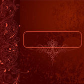 Brown-red Grunge Lace Background With Banner — Stock Vector