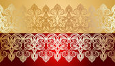 Seamless Gold Lace Ornate On Red — Stock Vector
