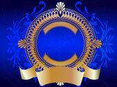 Gouden sierlijke banner op blauw — Stockvector