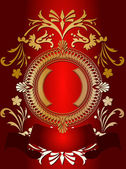Golden Ornate Banner On Red — Stock Vector