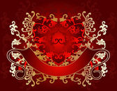 Gold On Red Valentine Day Card — Vector de stock