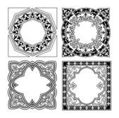 Czarno-białe różnych ornament quad — Wektor stockowy