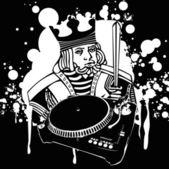 Kung dj graffiti — Stockvektor