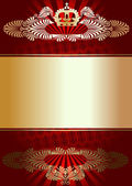 Golden Ornament On Red Background — Stock Vector