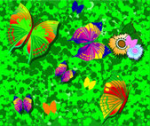 Color butterflies on green grass. — Vettoriale Stock