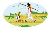 Rural workers. Balkan Peasants. — Stock Vector