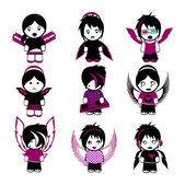 Nine Emo Angels — Stock Vector