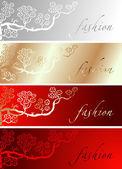 赤のゴールド シルク ファッション板の背景 — ストックベクタ