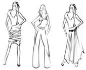 Fashion Girls Designer Sketch — Stock Vector