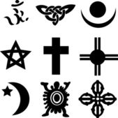 Nine Religious Symbols — Stock Vector
