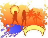 Girls Vacation Logo. — Stock Vector