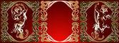 Trio Red Background Golden Cupids — Stock Vector