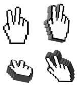 3D Vector Victory Hand Cursors — Stock Vector