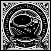 DJ Player Ornate Quad. — Stock Vector