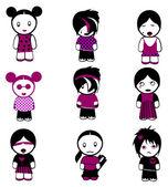 New Nine Emo Girls. — ストックベクタ