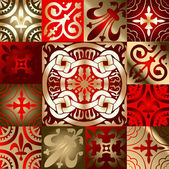 Red Gold Various Quad Ornament — Stock Vector