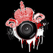 Graffiti  Crown and Loudspeaker — Stock Vector