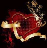 Golden Cupid Heart — Stock Vector