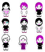 Nine Brand New Emo Dolls. — Stock Vector