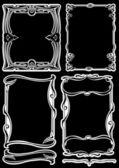 Set Of Four Black Frames — Stock Vector