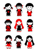 Nine Red Black Girls Dolls. — Vector de stock