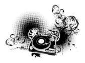 музыкальная тема с поворотной платформой — Cтоковый вектор
